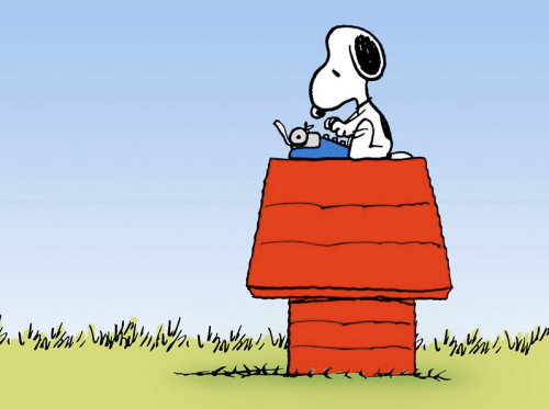 Snoopy starts a novel.