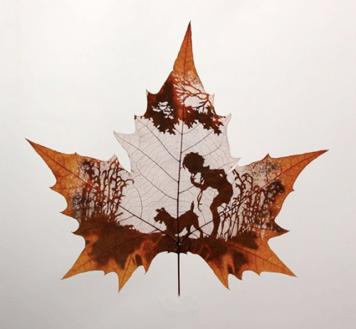 Art from scraping a leaf. China. Artist unknown.
